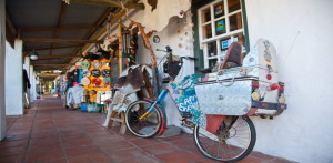 A variety of colourful shops at Noordhoek Farm Village